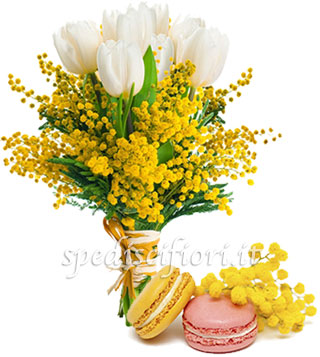 bouquet-di-mimose-e-tulipani-con-macaron