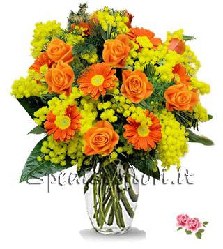 gerbere-arancio-con-mimosa