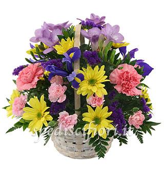 cesto-garofani-iris-e-margherite
