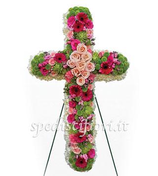 croce-funebre-di-rose-rosa-e-gerbere-fucsia
