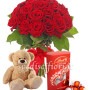 18-rose-rosse-con-orsacchiotto-e-lindor