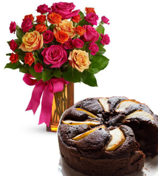 torta-cioccolato-e-pere-con-bouquet-surprise