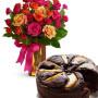 torta-cioccolato-e-pere-con-bouquet-surprise